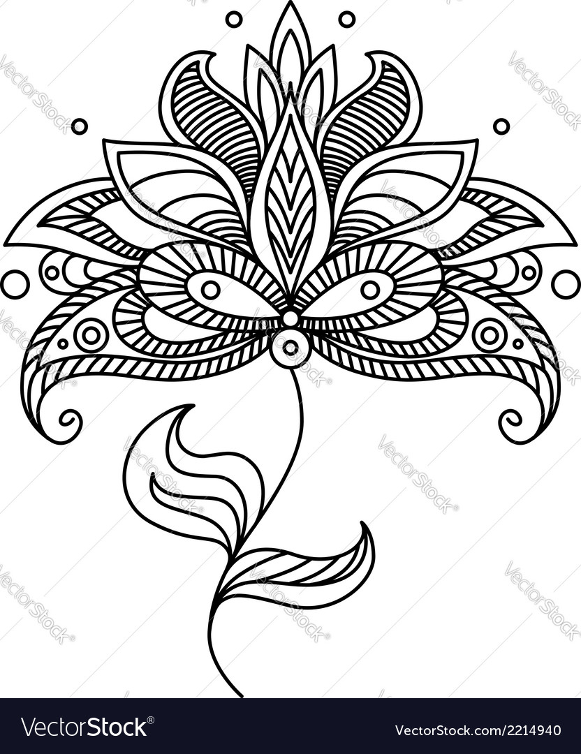 Paisley ornate floral design element vector | Price: 1 Credit (USD $1)