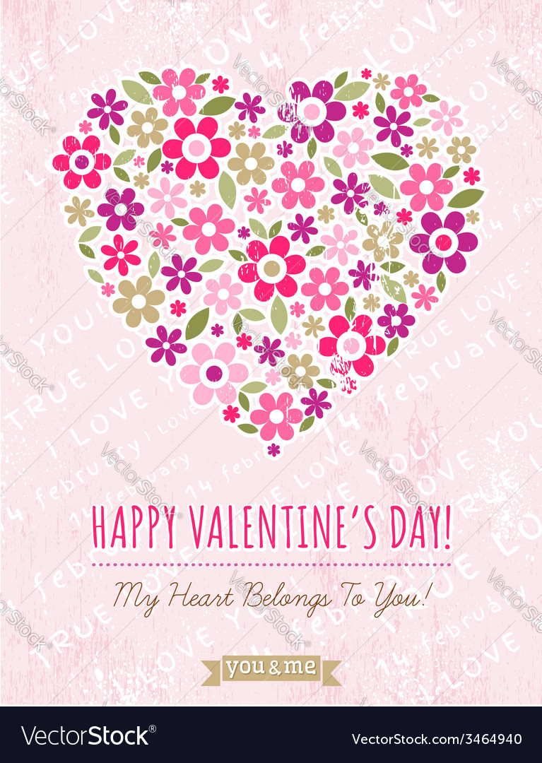 Pink background with valentine heart of spring flo vector | Price: 1 Credit (USD $1)