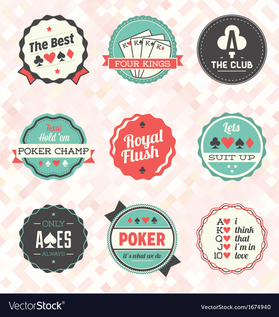 Retro poker card labels vector | Price: 1 Credit (USD $1)