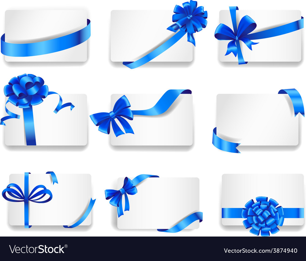 Set of beautiful cards with blue gift bows vector | Price: 3 Credit (USD $3)