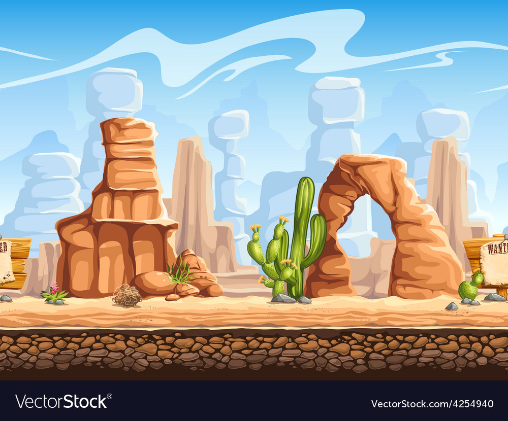 Tileable horizontal background wild west set1 vector | Price: 5 Credit (USD $5)