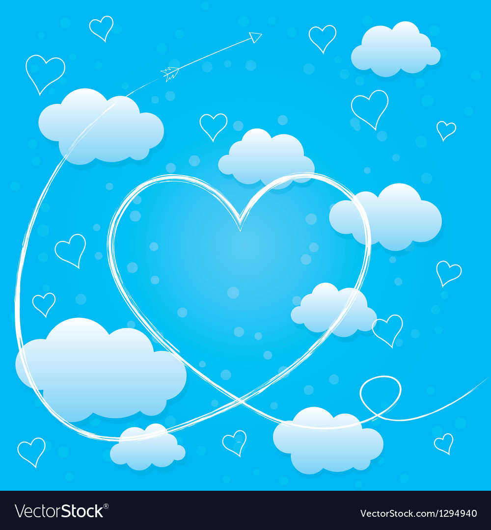 Valentines day card with hearts arrow and clouds vector | Price: 1 Credit (USD $1)