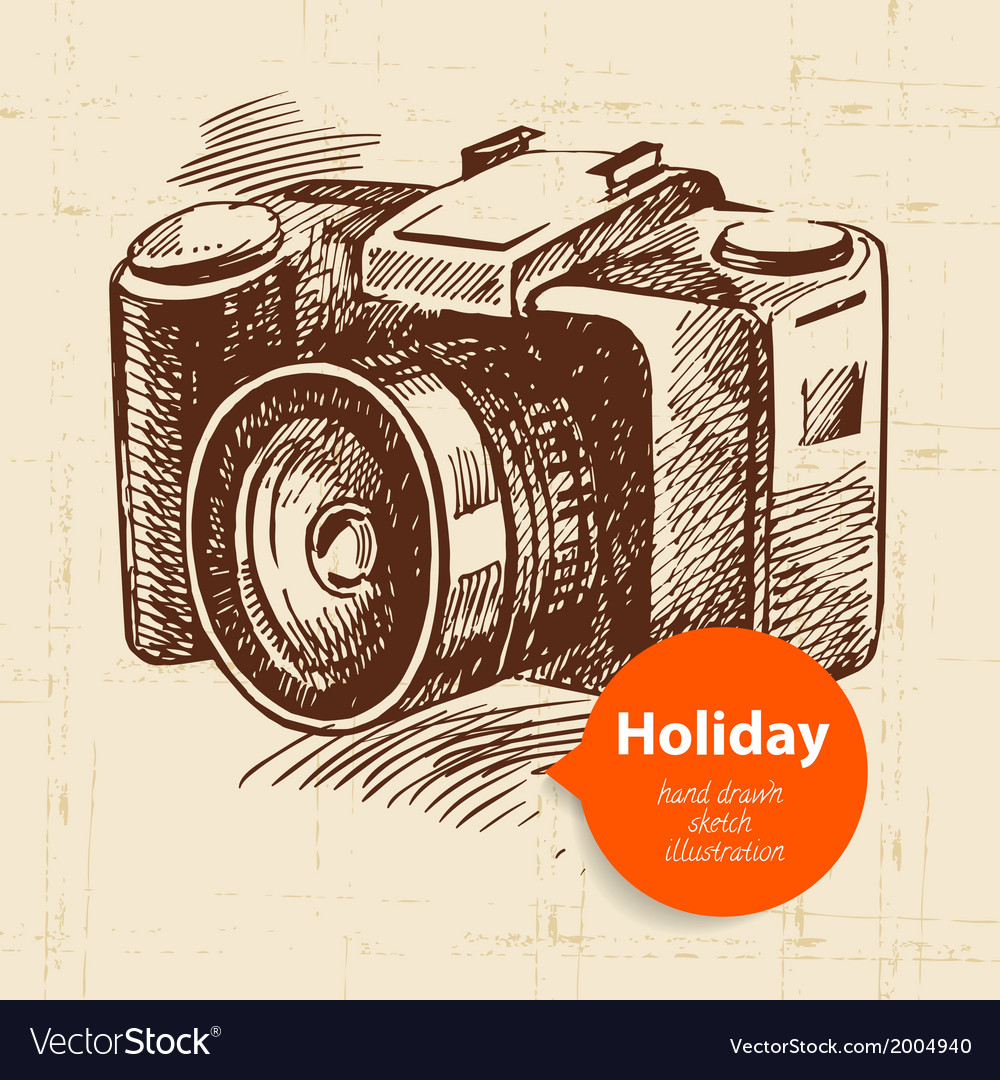Vintage travel and holiday background with camera vector | Price: 1 Credit (USD $1)