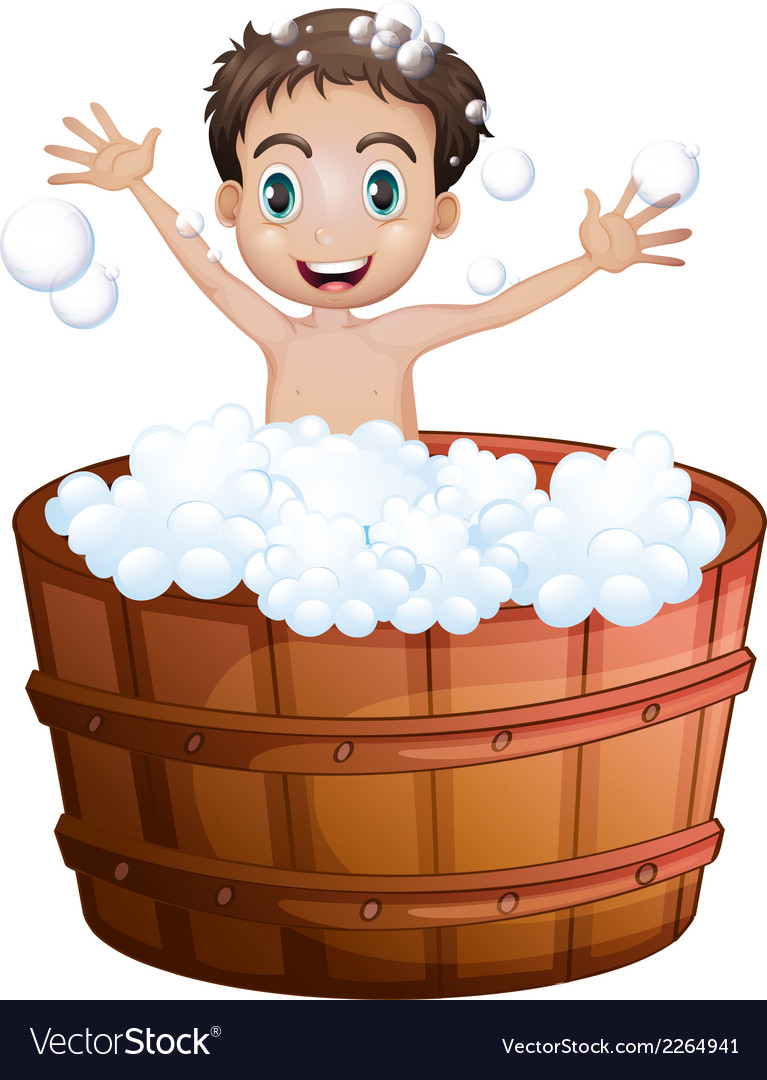A happy boy taking a bath vector | Price: 1 Credit (USD $1)