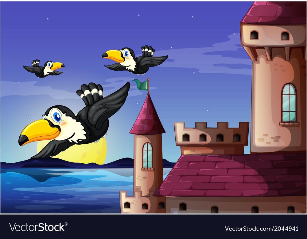 Birds near the castle vector | Price: 3 Credit (USD $3)