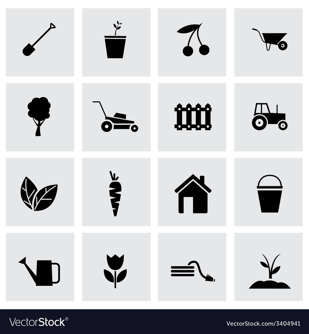 Black gardening icons set vector | Price: 1 Credit (USD $1)