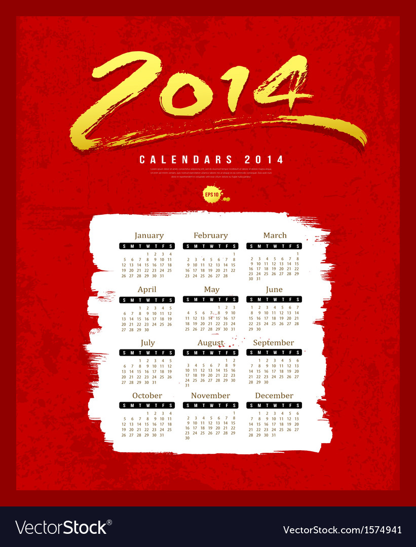Calendar 2014 text paint brush on red textures vector | Price: 1 Credit (USD $1)