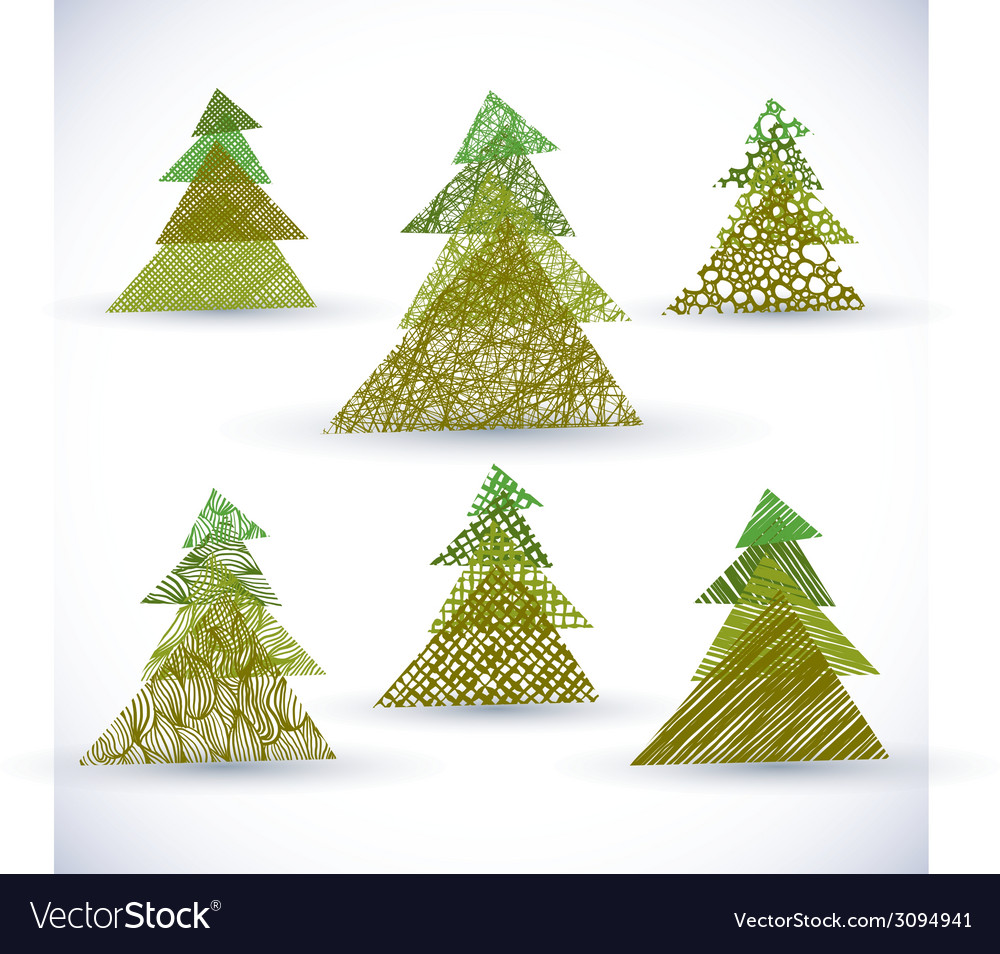 Christmass tree set vector | Price: 1 Credit (USD $1)