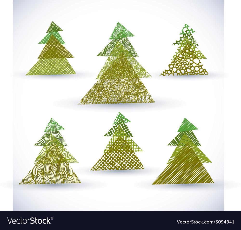 Christmass tree set vector | Price: 1 Credit (USD $1)