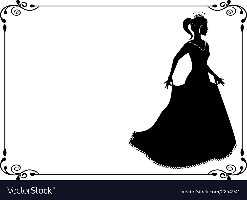 Princess silhouette in long dress and retro frame vector | Price: 1 Credit (USD $1)