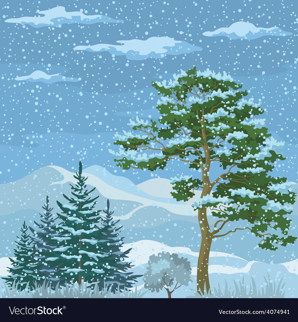 Seamless mountain winter landscape vector | Price: 1 Credit (USD $1)