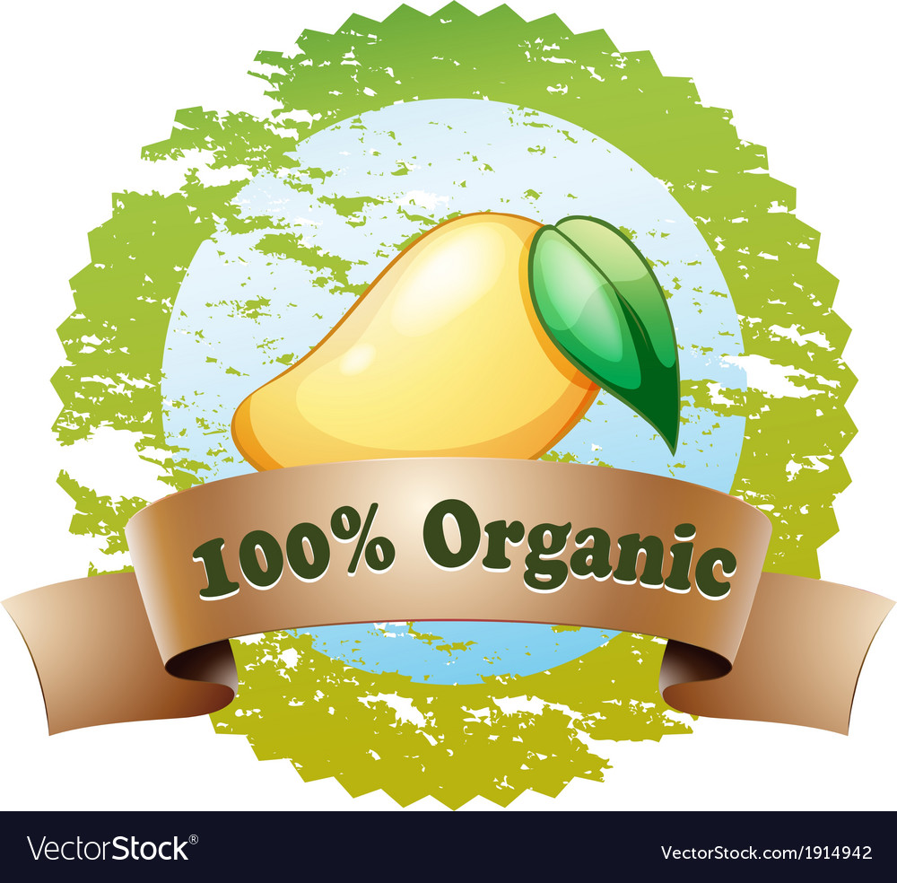 An organic label with a ripe mango vector | Price: 3 Credit (USD $3)
