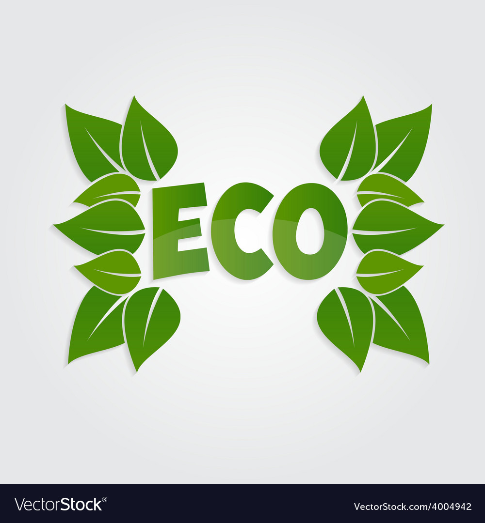 Eco friendly sticker tag or label with green vector | Price: 1 Credit (USD $1)