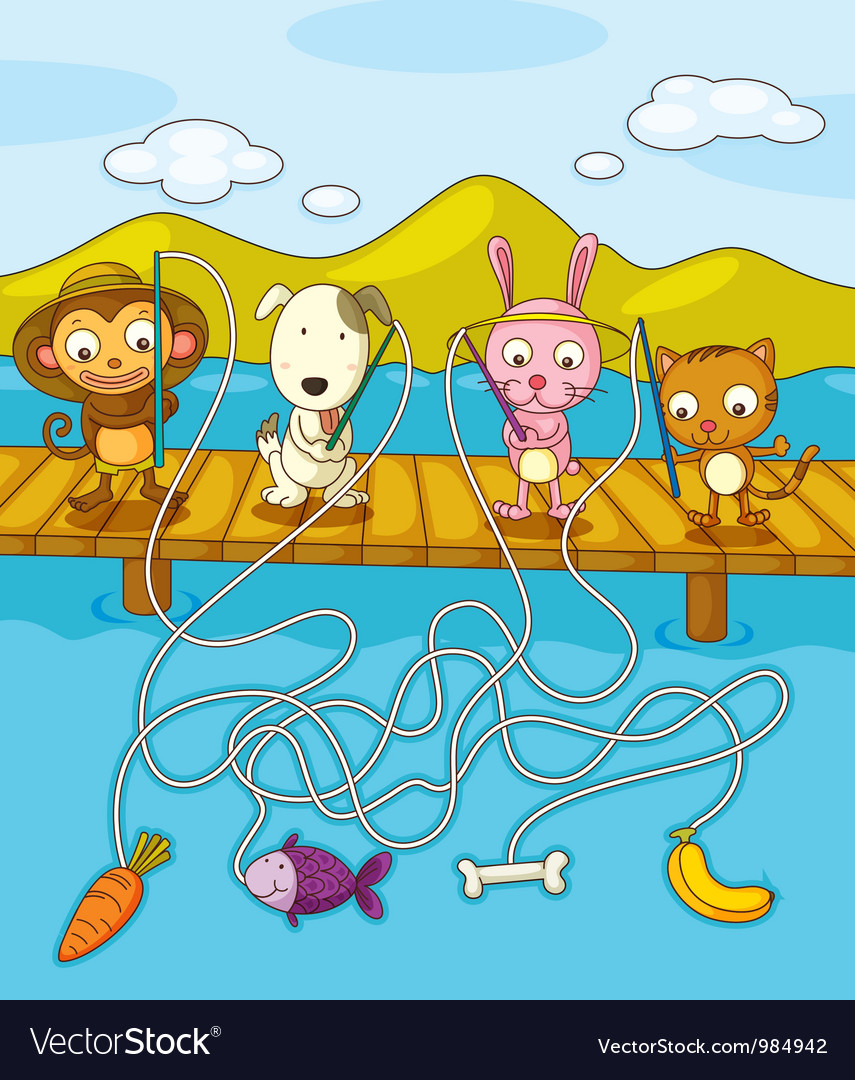 Fishing maze vector | Price: 3 Credit (USD $3)