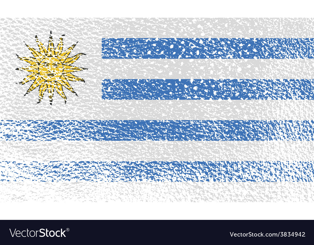 Flag of uruguay with old texture vector | Price: 1 Credit (USD $1)