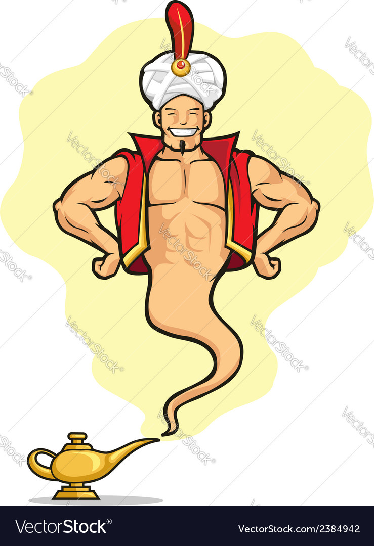 Genie appear from magic lamp vector | Price: 1 Credit (USD $1)