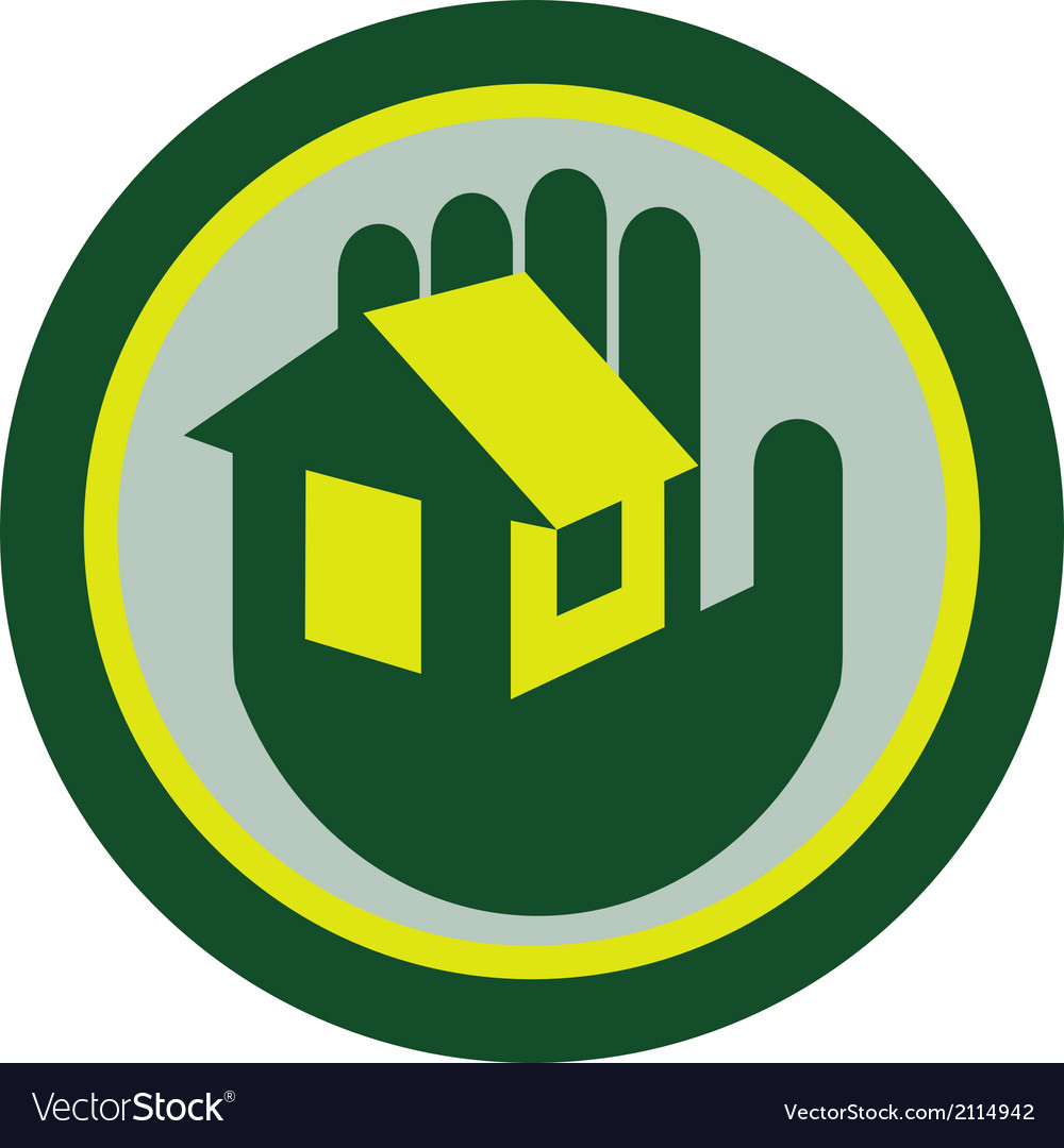 Hand holding house circle retro vector | Price: 1 Credit (USD $1)