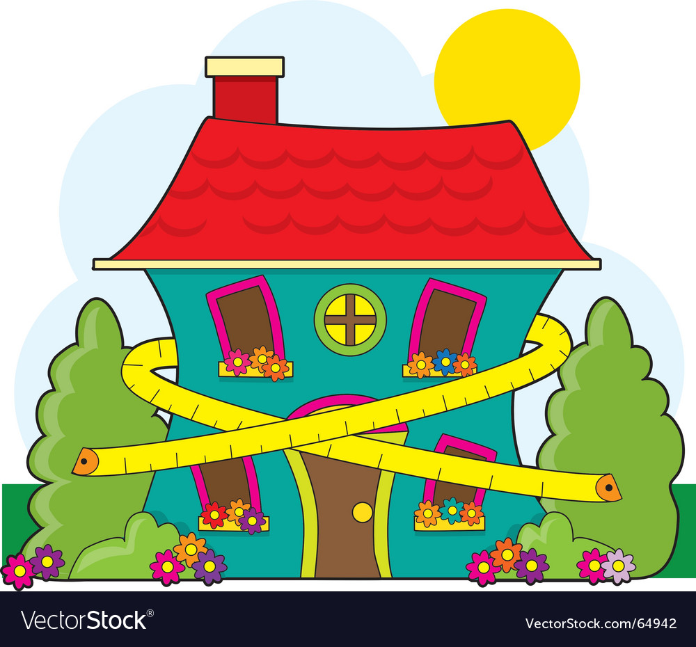 House and tape measure vector | Price: 1 Credit (USD $1)