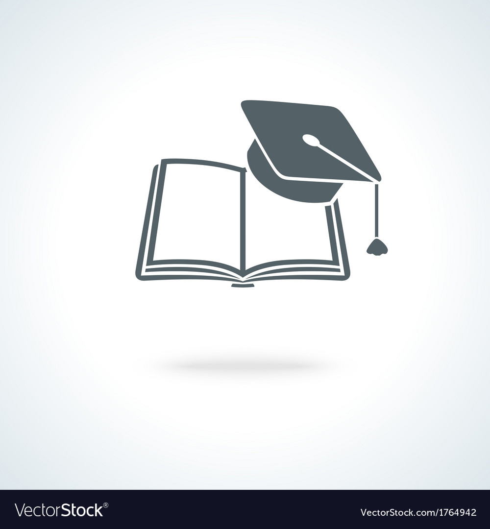 Open book with square academic cap vector | Price: 1 Credit (USD $1)