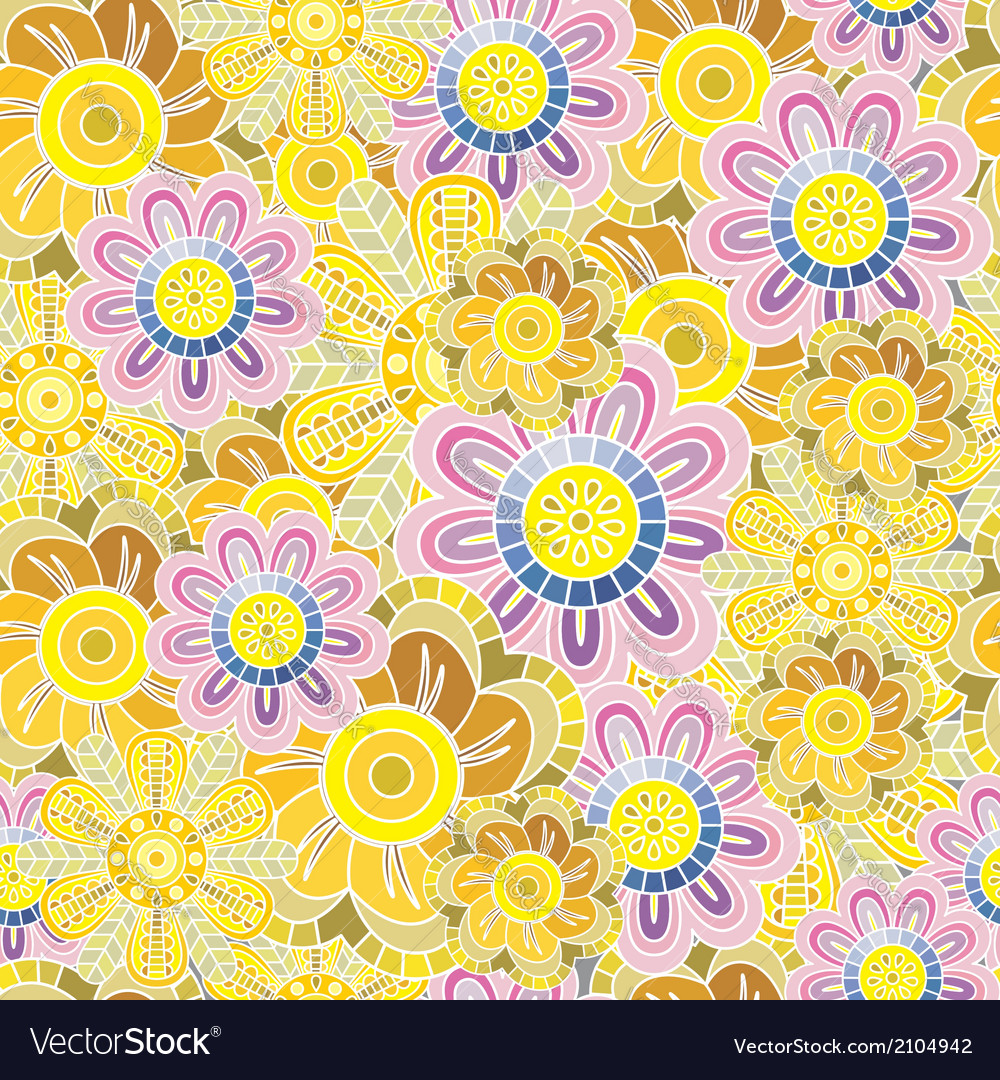 Ornate floral seamless pattern with flowers vector   Price: 1 Credit (USD $1)