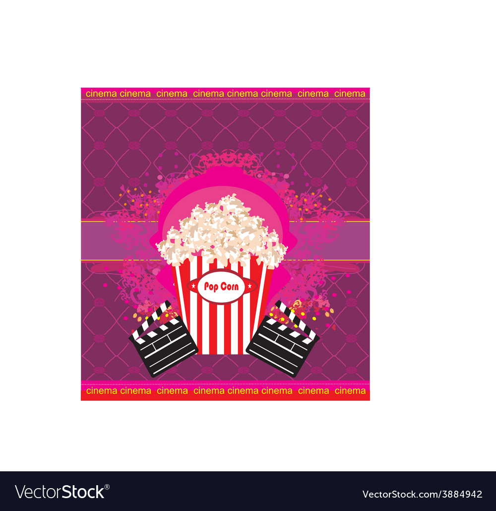 Pop corn with clapper board cinema abstract card vector | Price: 1 Credit (USD $1)
