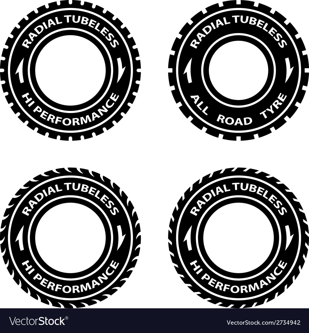 Radial tubeless hi performance tyre symbols vector | Price: 1 Credit (USD $1)