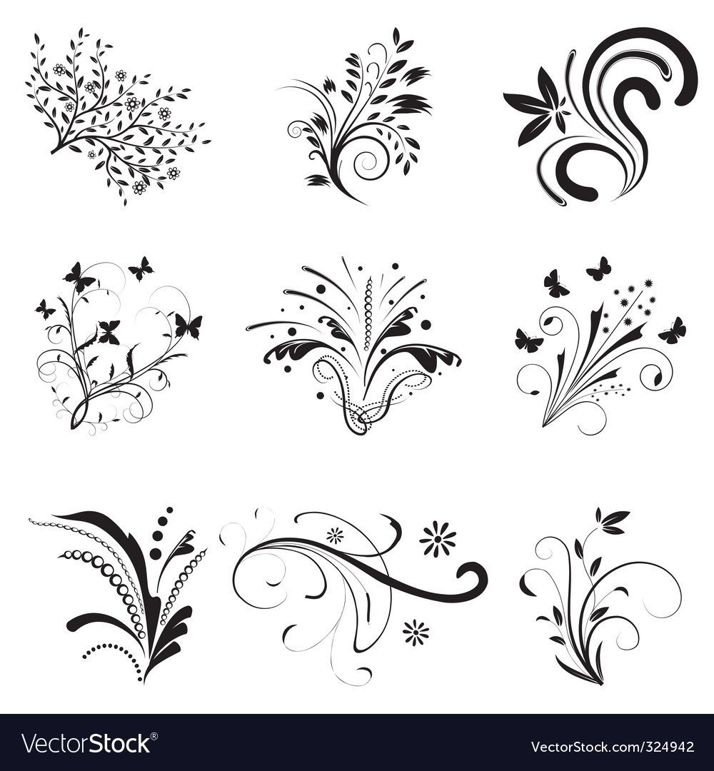 Set of floral design elements vector | Price: 1 Credit (USD $1)