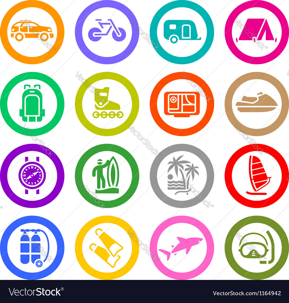 Vacation recreation travel icons set vector | Price: 1 Credit (USD $1)