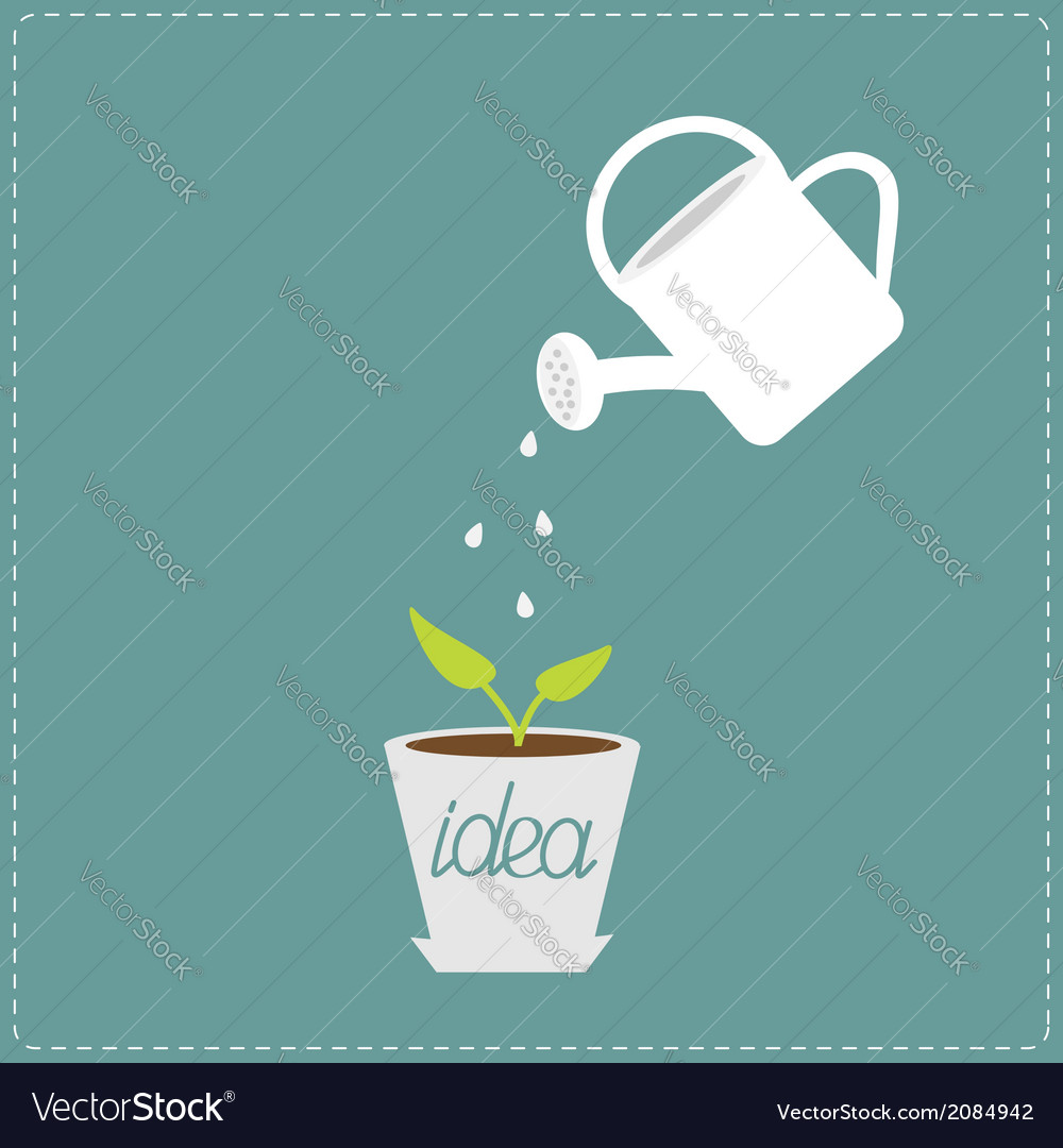 Watering can and plant in the pot growing idea vector | Price: 1 Credit (USD $1)