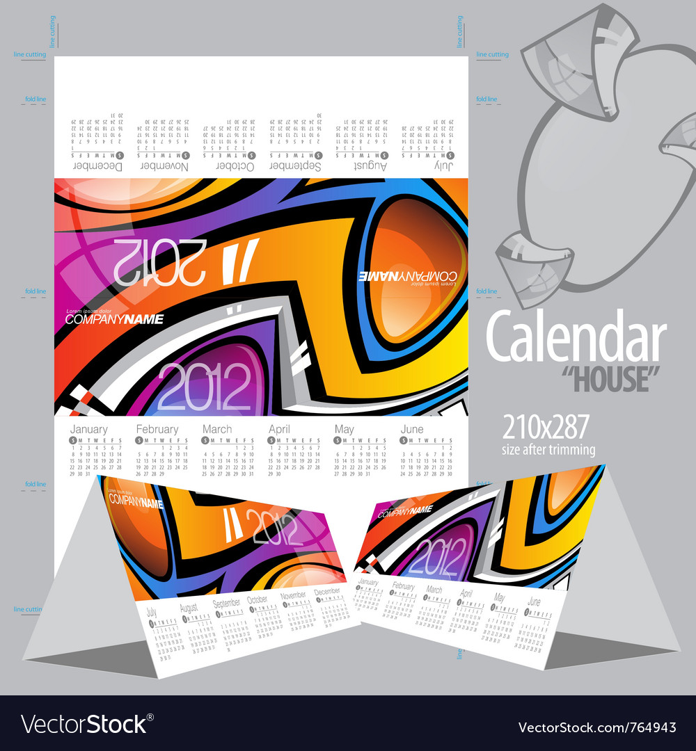2012 calendar calendar house vector | Price: 1 Credit (USD $1)