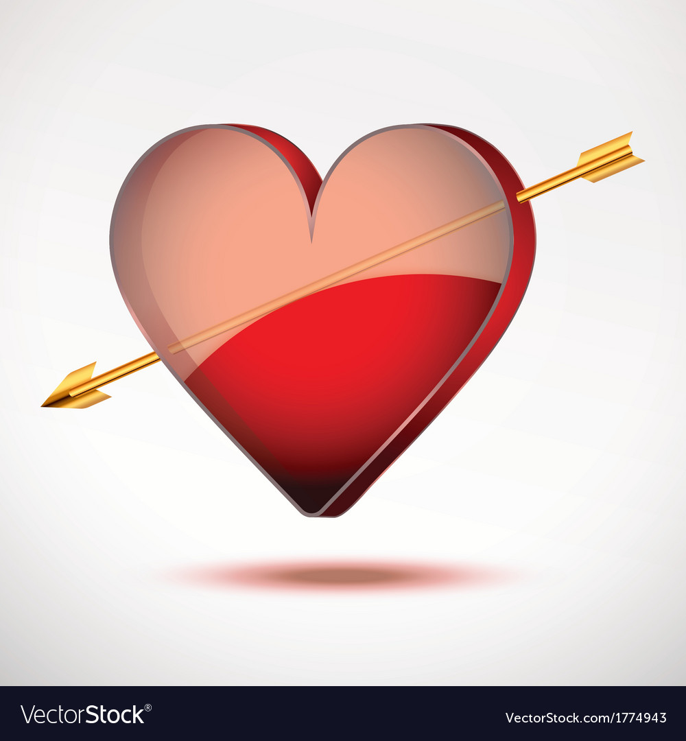 Background heart and arrow valentines day card vector | Price: 1 Credit (USD $1)