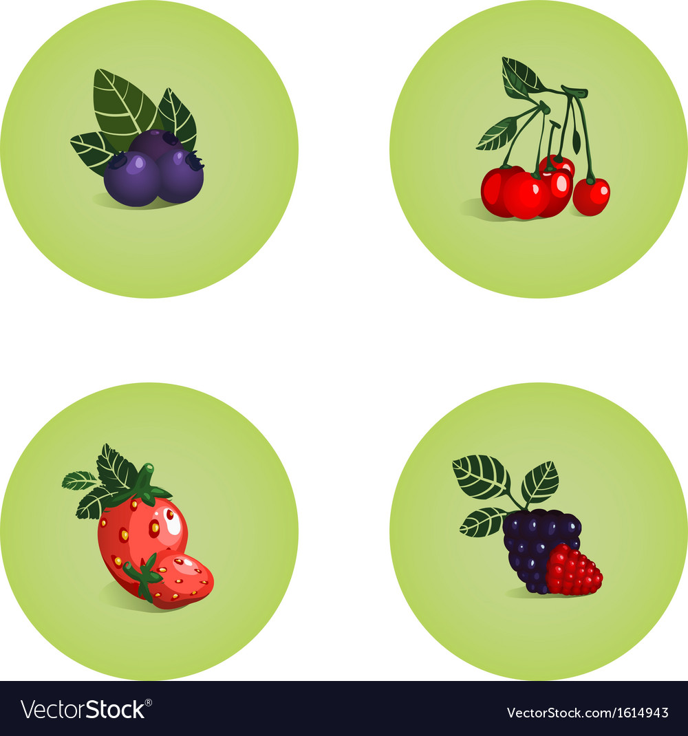 Blackberry cherry strawberry bilberry icons vector | Price: 1 Credit (USD $1)