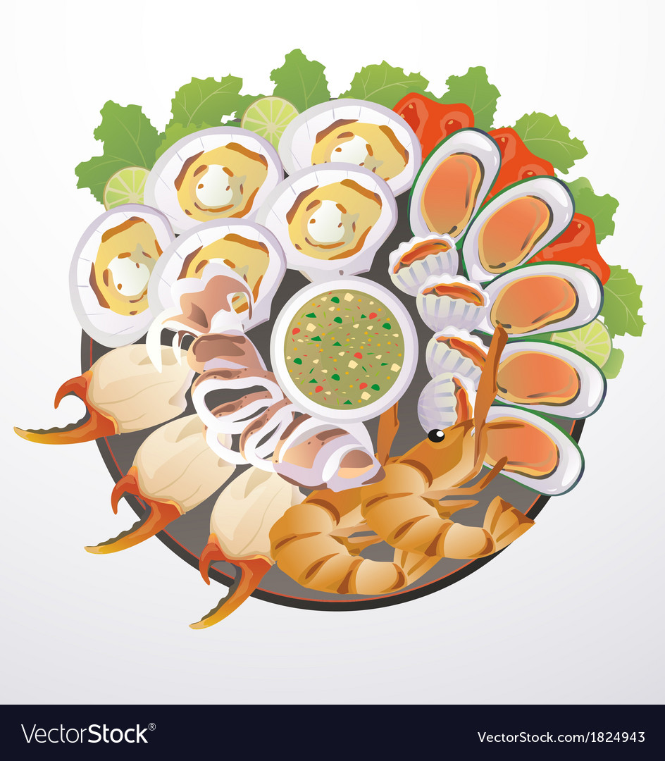 Dish of seafood vector | Price: 1 Credit (USD $1)