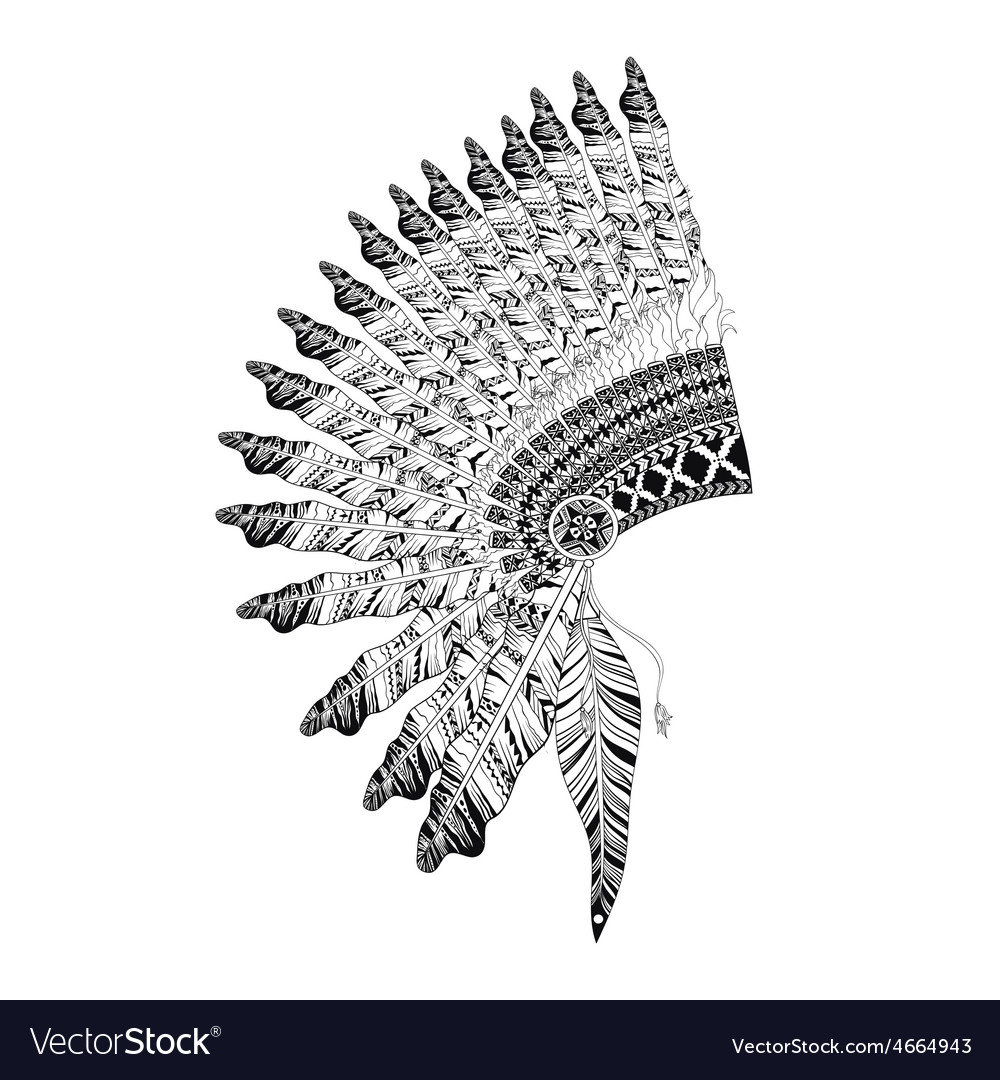 Feathered war bannet in zentangle style high vector | Price: 1 Credit (USD $1)