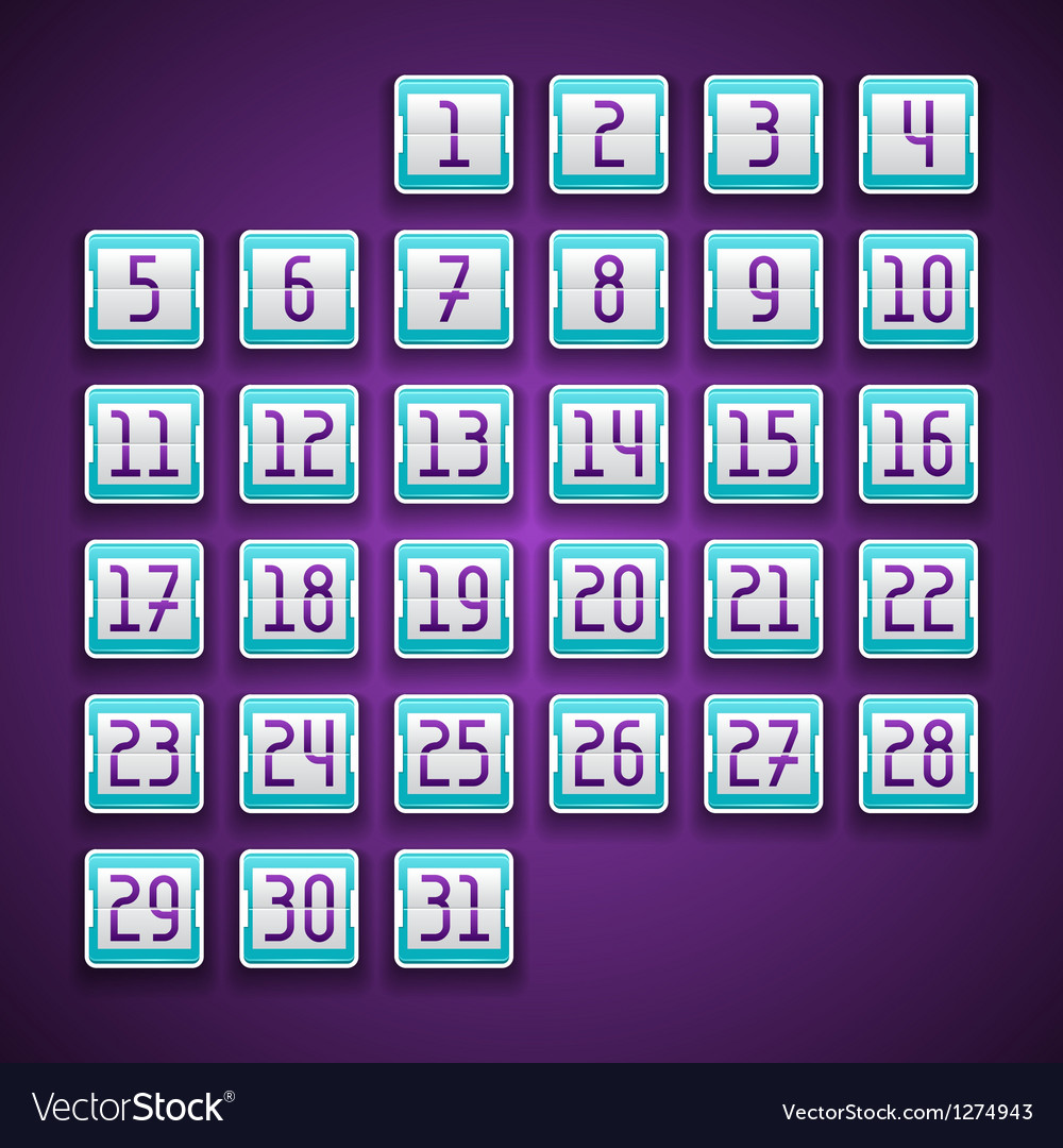 Mechanical scoreboard numbers calendar vector | Price: 1 Credit (USD $1)
