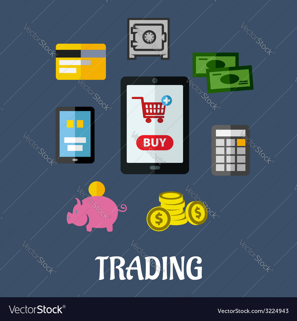 Online trading flat concept vector | Price: 1 Credit (USD $1)