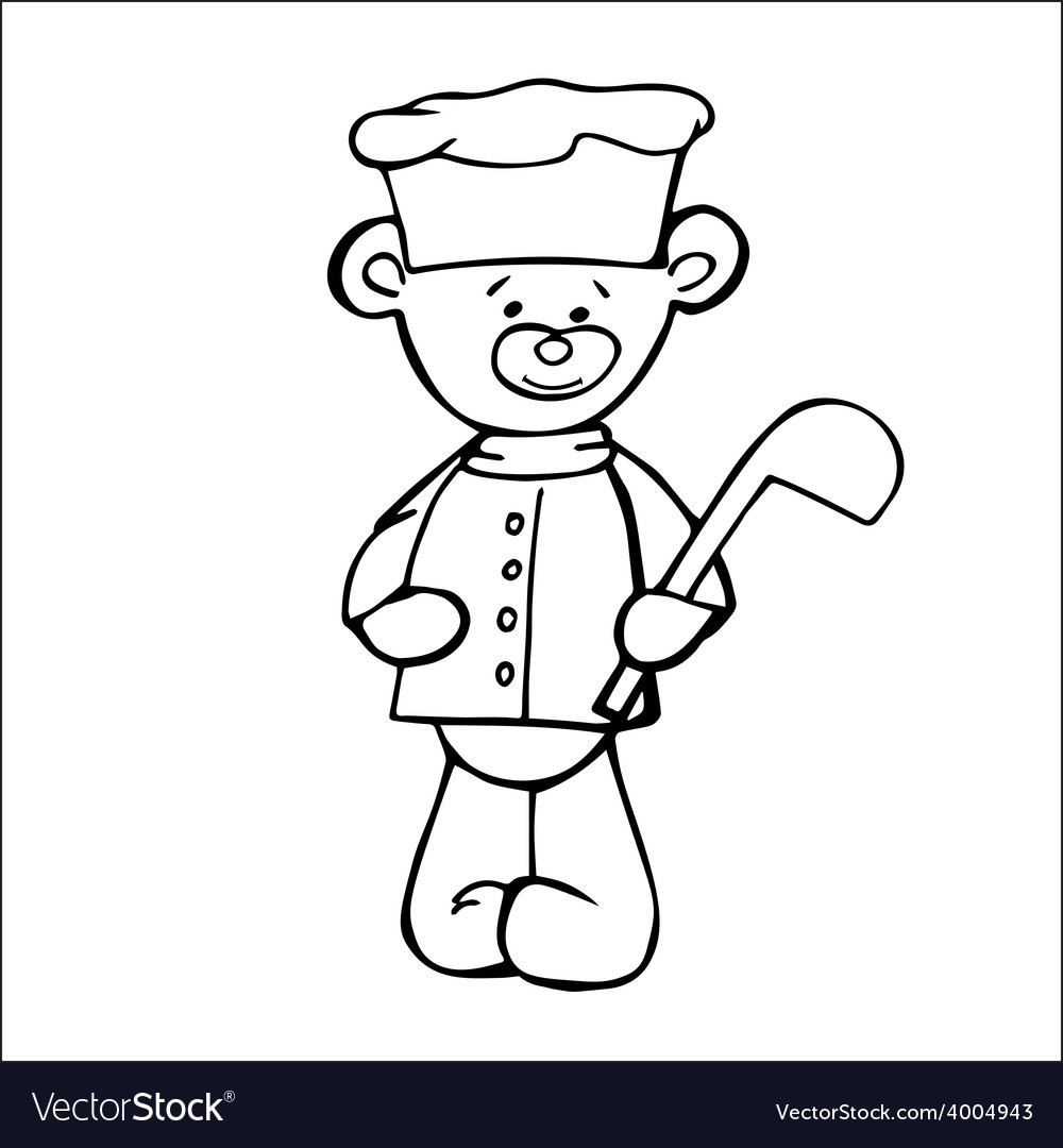 Outlined bear cook toy isolated on white vector | Price: 1 Credit (USD $1)