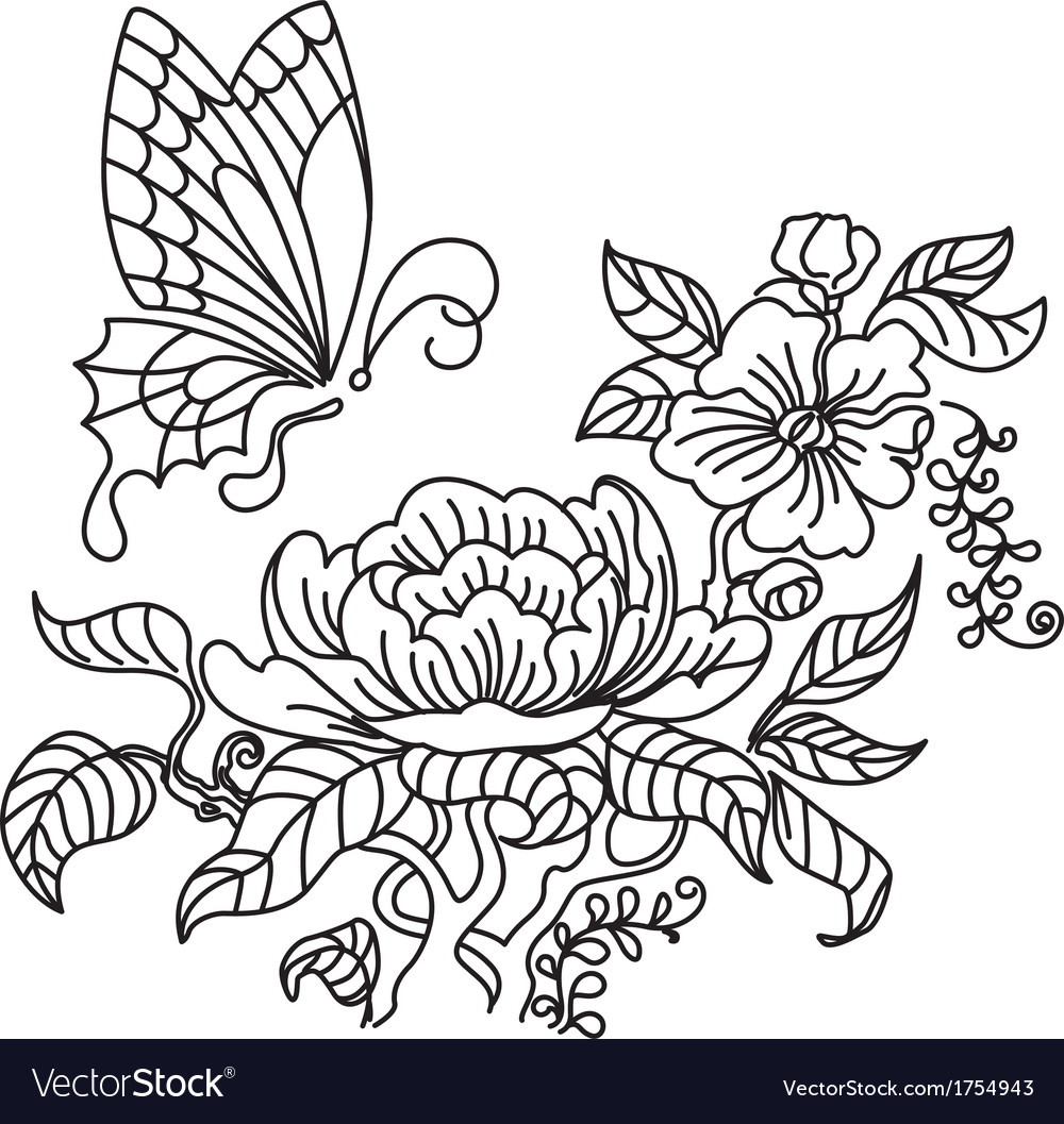 Peony and butterfly bw vector   Price: 1 Credit (USD $1)