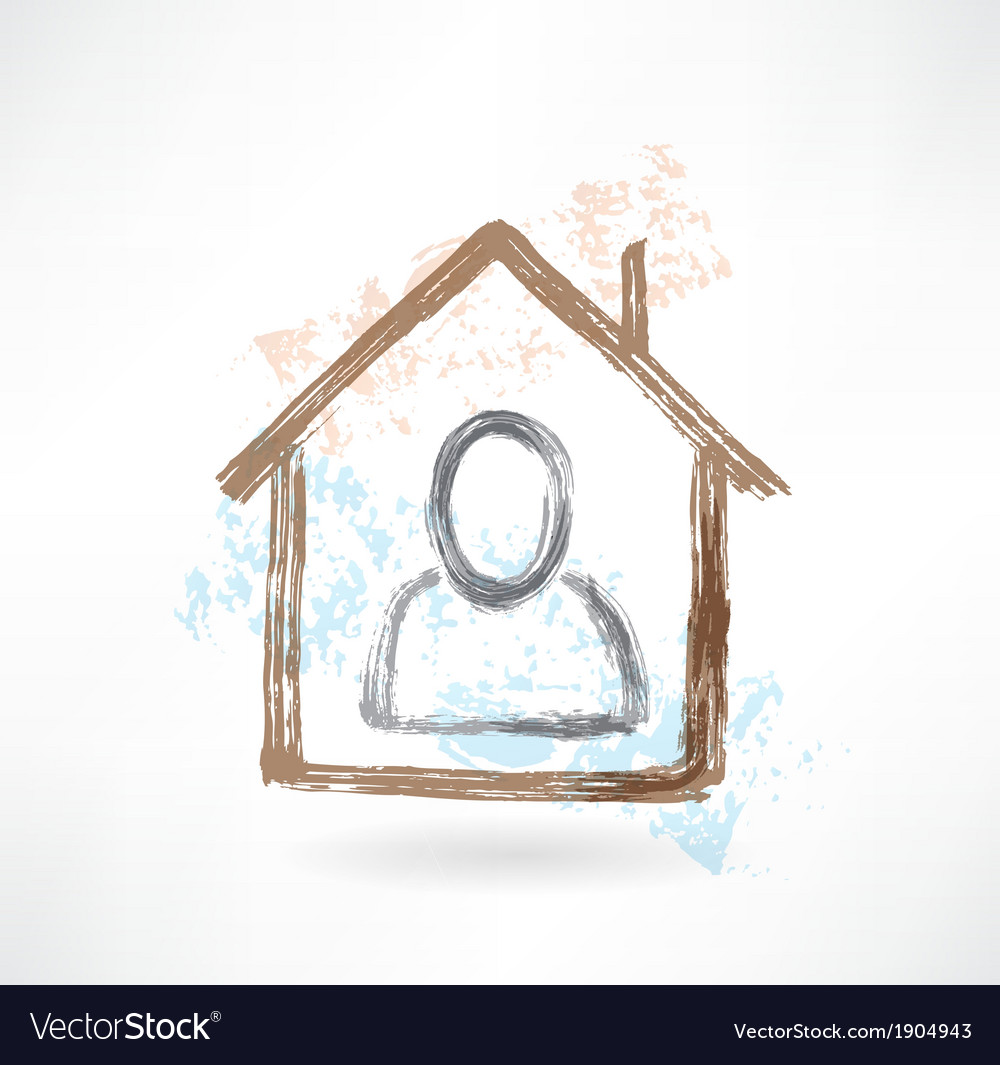 Person in a house grunge icon vector | Price: 1 Credit (USD $1)