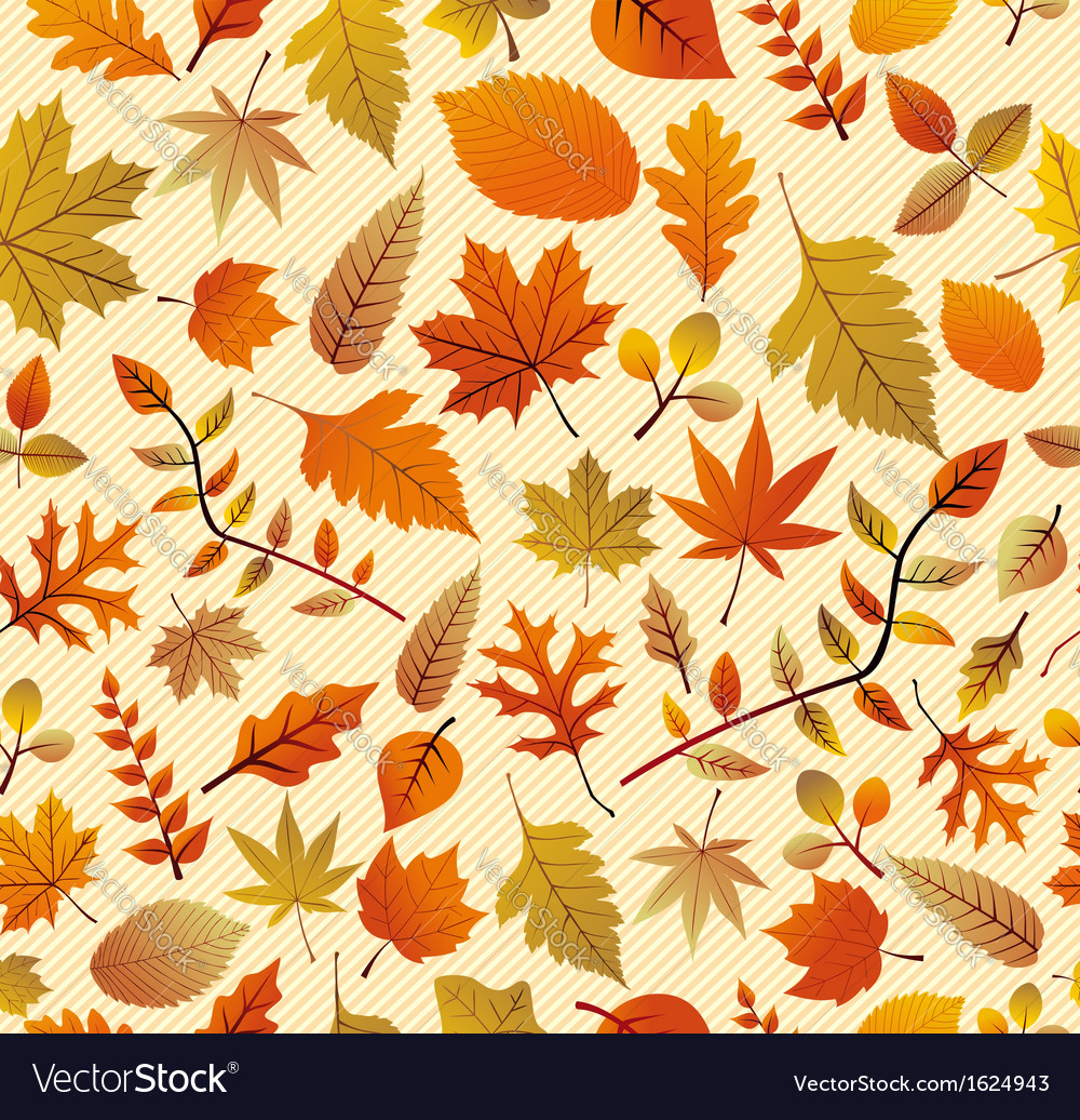 Retro autumn season leaves seamless pattern vector | Price: 1 Credit (USD $1)