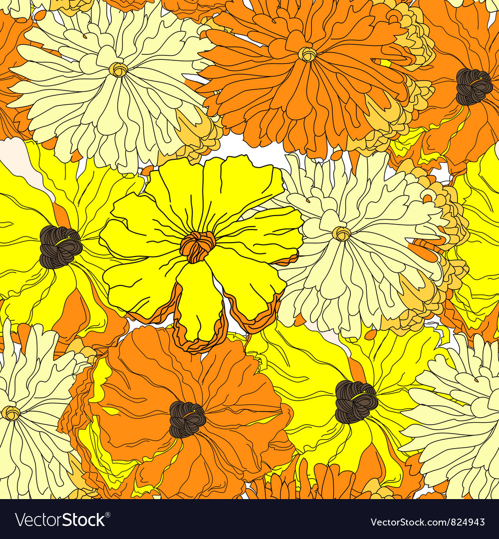 Seamless wallpaper with yellow flowers vector | Price: 1 Credit (USD $1)