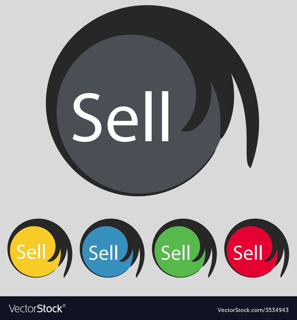 Sell sign icon contributor earnings button set of vector | Price: 1 Credit (USD $1)