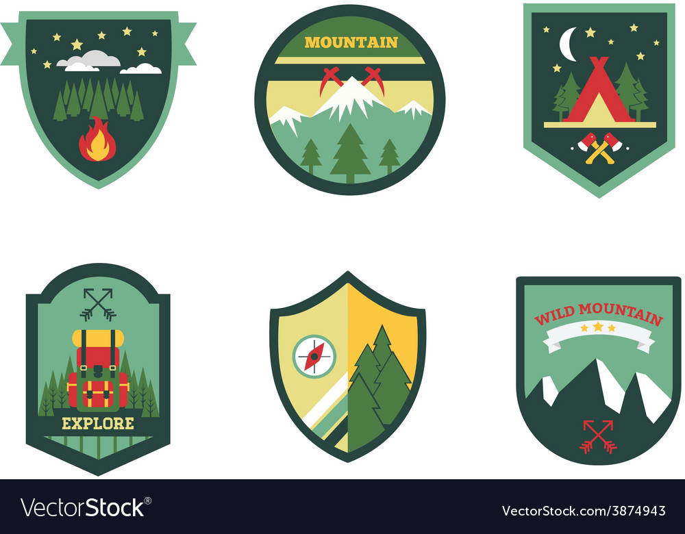 Set of vintage woods camp badges and travel logo vector