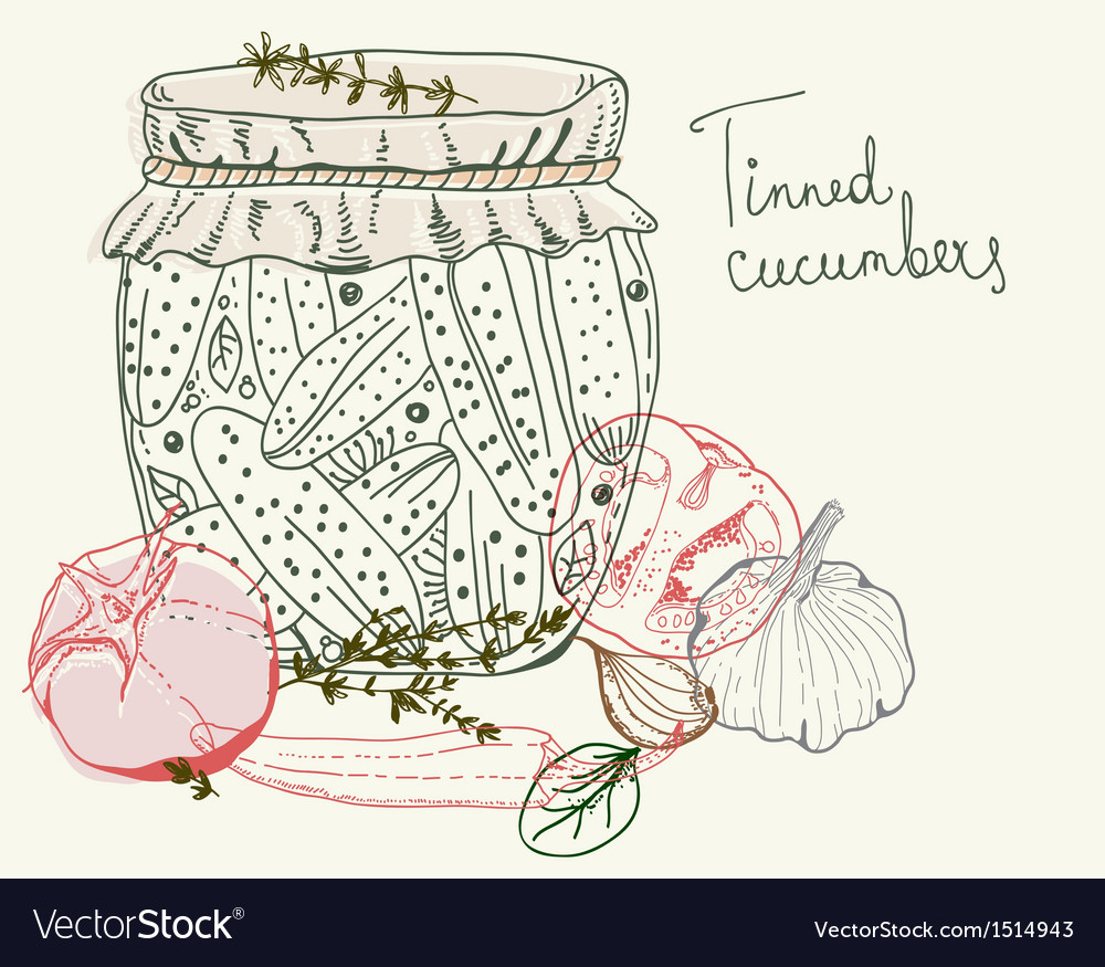 Tinned cucumbers vector | Price: 1 Credit (USD $1)