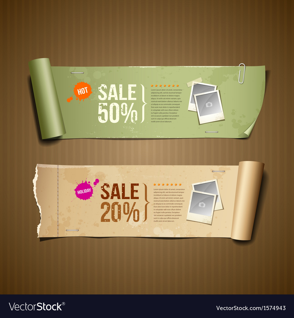 Vintage paper roll ripped for business design vector | Price: 1 Credit (USD $1)