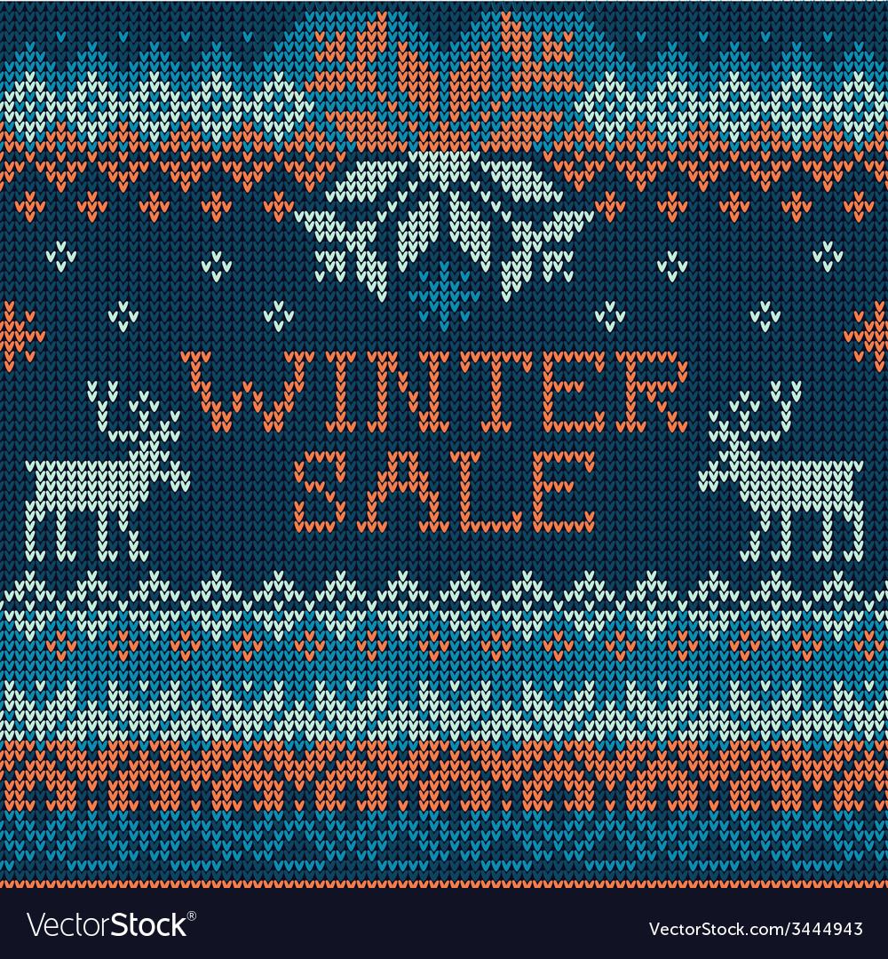 Winter sale scandinavian style seamless knitted vector   Price: 1 Credit (USD $1)