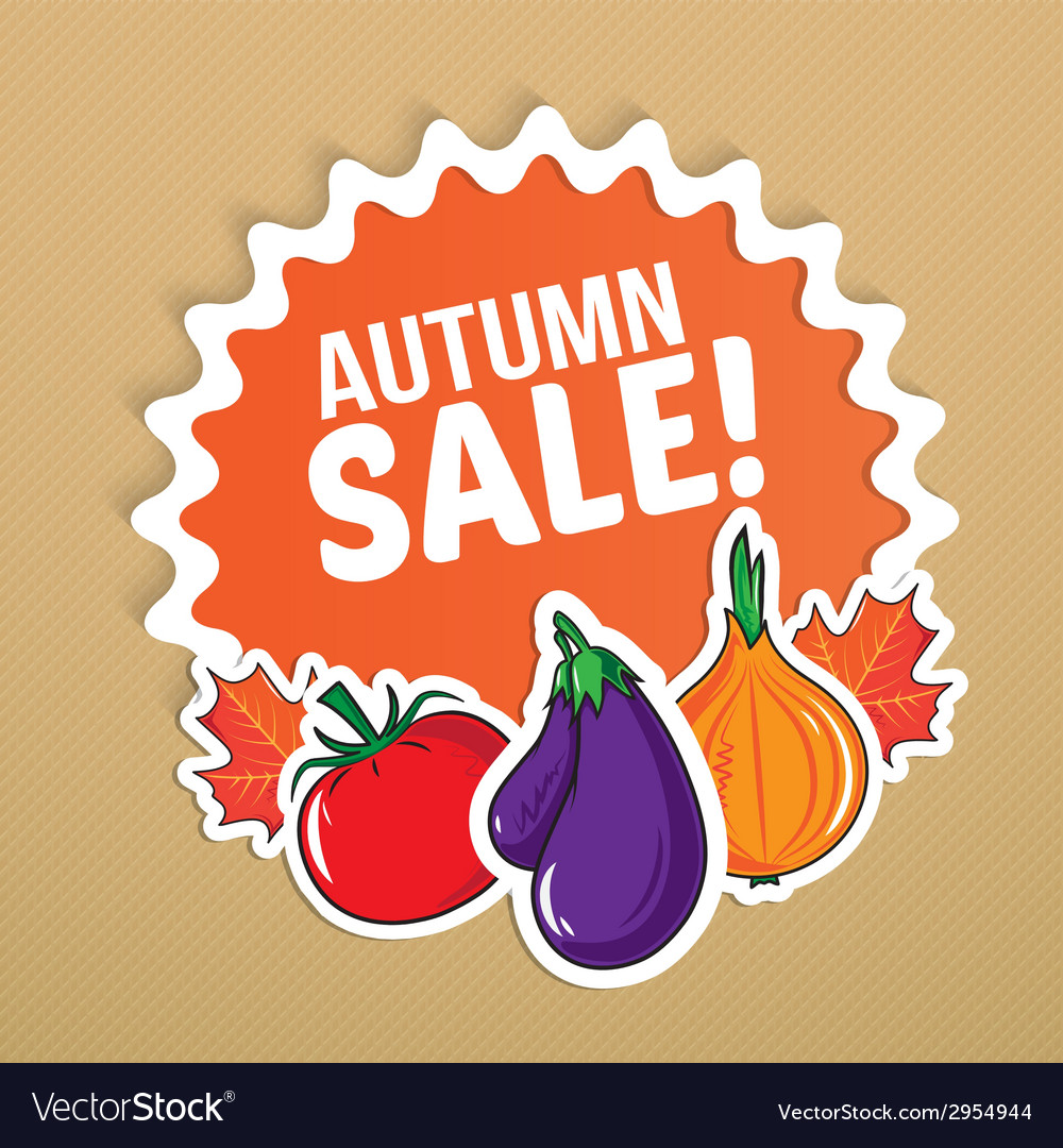 Autumn sticker with vegetables vector | Price: 1 Credit (USD $1)