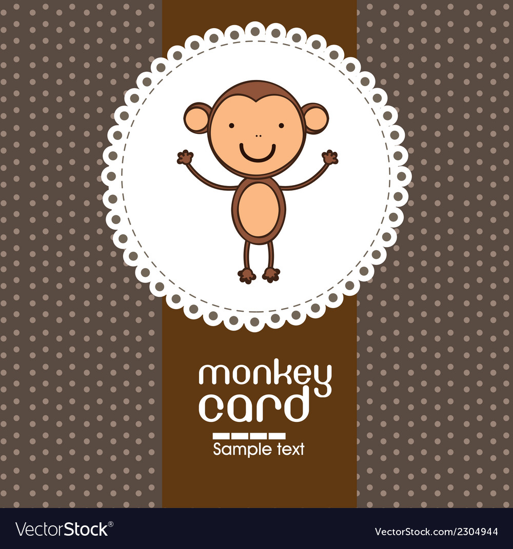 Card with cute monkey vector | Price: 1 Credit (USD $1)