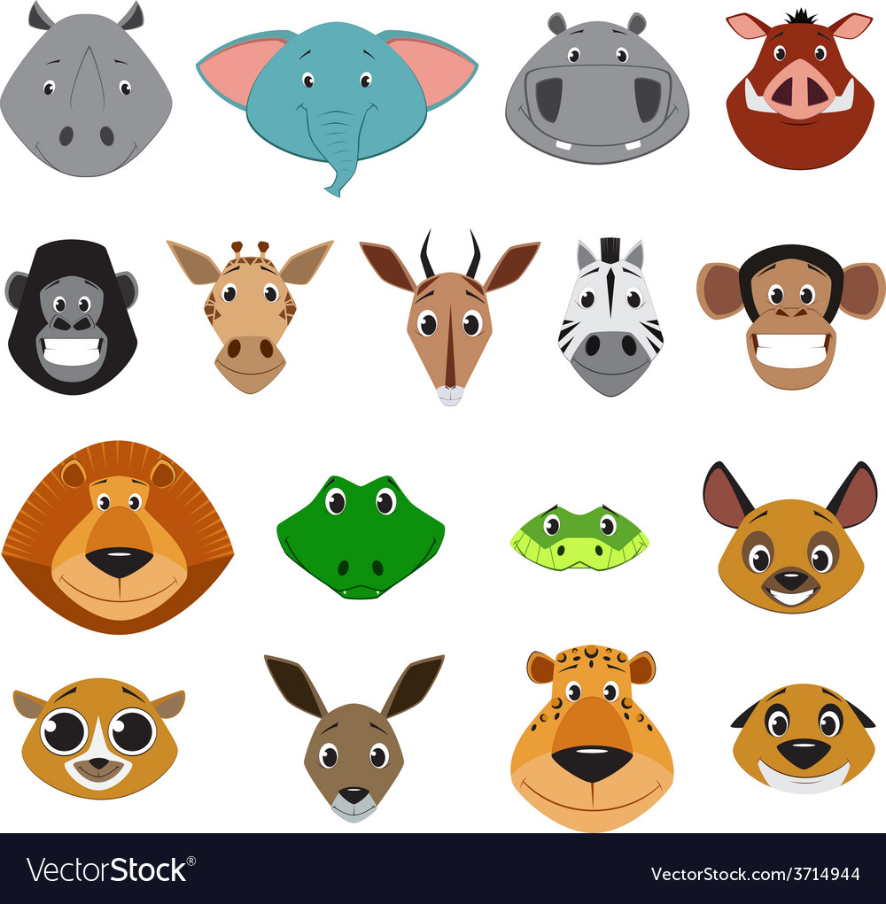 Cute colorful exotic animals collection vector | Price: 1 Credit (USD $1)