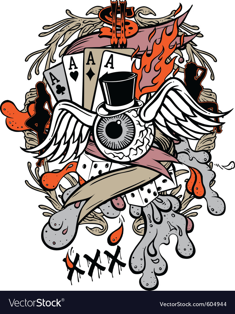 Gambler tattoo vector | Price: 3 Credit (USD $3)